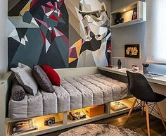 Star Wars Room Design Ideas - Check out the best Star Wars rooms for We collected the most inspiring and creative room decorations for Star Wars fans. Home Bedroom, Kids Bedroom, Bedroom Loft, Bedroom Wall, Bedroom Furniture, Room Interior, Interior Design, Teenage Room, Teen Boy Rooms