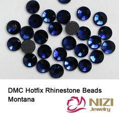 DMC Hotfix Rhinestones With Glue Back SS6-SS30 Montana Color Round Flatback Iron On Strass Diamonds DIY Jewerly Making Supplies