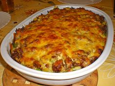 Original and Authentic German Recipes: Potato Brussels sprouts gratin as we make it in Germany. Easy to make and delicious.