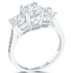 3.25 Carat F-VS2 Three Stone Cushion Cut Diamond Engagement Ring Set In Platinum - Three Stone Engagement Rings - Engagement - Lioridiamonds.com