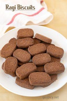 Best Homemade Ragi Biscuit Recipe, Finger Millet Cookies – GoSpicy It is po… Baby Food Recipes, Baking Recipes, Cookie Recipes, Snack Recipes, Dessert Recipes, Snacks, Desserts, Delicious Recipes, Vegetarian Chocolate