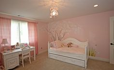 Cherry blossom (sakura) themed room for little girls...looove the handpainted wall!