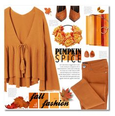 """""""Fall Fashion"""" by mmk2k ❤ liked on Polyvore featuring Balmain, Double D Ranch, Fall, monochrome and pumpkinspice"""
