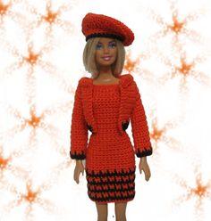 Crocheted Barbie clothes orange dress jacket hat handmade
