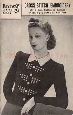 1940's Bestway 997 PDF Knitting Pattern  Cross by 1940sPatterns