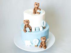 Fondant Teddy Bear, Teddy Bear Cakes, Fondant Baby, 3 Tier Cake, Tiered Cakes, Edible Cake Decorations, Sugar Bears, Baby Shower Cakes, Gender Reveal