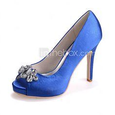FemininoPeep Toe-Salto Agulha-Preto / Azul / Rosa / Roxo / Vermelho / Marfim / Branco / Prateado / Champagne-Seda-Casamento / Festas & de 2016 por £29.51