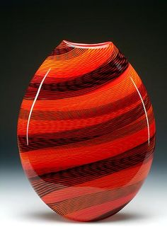 """Color Weave Oval Vase""  Glass Vases and Vessels  Created by brian becher"