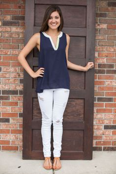 Touch of Lime Tunic in navy - JC's Boutique - www.SHOPJCB.com