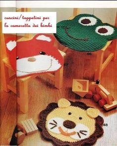 "Carpets for Kids crochet: cositasconmesh…in Spanish but patterns are graphed. ""Carpets for Kids crochet: cositasconmesh& Spanish but patterns are Crochet Carpet, Crochet Home, Love Crochet, Crochet Gifts, Crochet For Kids, Knit Crochet, Carpets For Kids, Kids Rugs, Crochet Mandala"