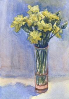 Yellow Carnations, 5x7 in, Watercolor on Paper, by Julie Kessler