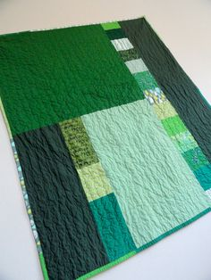 Green Patchwork Quilt Back, by TheDancingQuilt on Etsy.