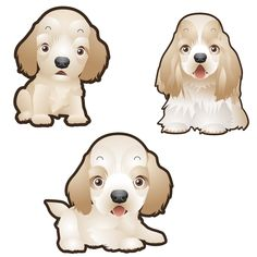 Cocker Spaniel Dog Set of 3 Decals - 4 / Fabric - Removable Adhesive