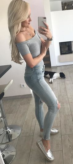 #summer #outfits Grey Off The Shoulder Top + Ripped Skinny Jeans + Metallic Pumps
