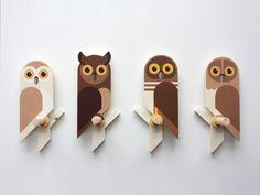 Owlets, wooden wall hooks by Guus van Zeeland