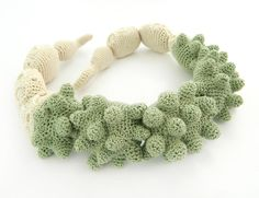 """Lidia Puica - Collection """"The forest touch"""" Pastel Green and Beige Necklace Made of: Cotton thread Size: 52 cm"""