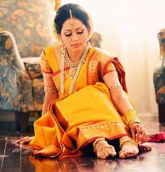 Yellow Pattu... the telugu bride's identity.