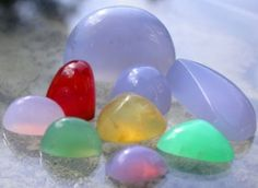 The different colors are caused by trace elements in the Chalcedony.
