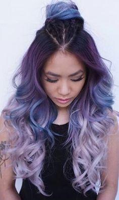 Pastel hair dye dye my hair pastel ombre hair mermaids pastel hair Ombré Hair, Dye My Hair, Hair Wigs, Ombre Hair Color, Purple Hair, Purple Ombre, Dark Purple, Purple Balayage, Violet Ombre