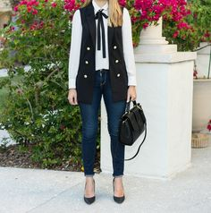 Double breasted blazer, bow blouse