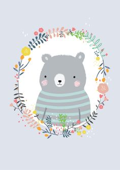 Cute animal illustration, cute bears, happy easter everyone, hello kitty, a Drawing For Kids, Art For Kids, Children Drawing, Drawing Ideas, Image Deco, Happy Easter Everyone, Bear Illustration, Character Illustration, Surface Pattern Design