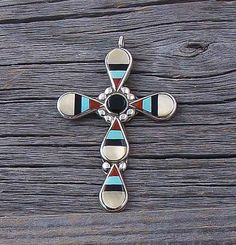 Zuni Silver Mother of Pearl Multi Inlay Cross Pendant, Multi Inlay Silver Pendant, Vintage Pendent, Gift for her, Traditional Pendent