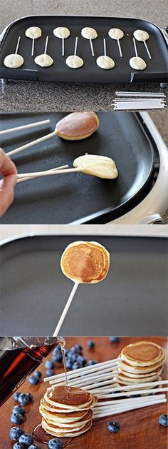 Kids Meals Pancake pops recipe - such a fun breakfast idea for kids! - Learn how to make Pancake Pops. The perfect breakfast party food for Father's Day, a PJ and Pancakes Birthday Party or even a Fourth of July brunch! I Love Food, Good Food, Yummy Food, Awesome Food, Awesome Kitchen, Pancakes On A Stick, Mini Pancakes, Pancakes Kids, Dinner Pancakes