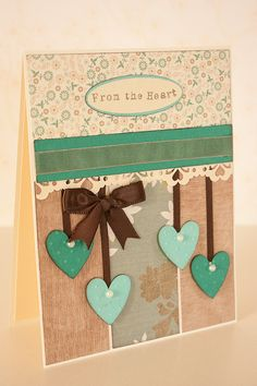 Valentine Card Mint Hearts From the Heart by BeautyfromashesUSA Valentines Day Cards Handmade, Greeting Cards Handmade, Invitation Paper, Invitations, Heart Cards, Love Cards, Scrapbook Paper, Card Ideas, Hearts
