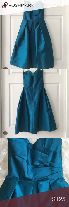 Alfred Sung midi dress Beautiful blue sweetheart neckline strapless dress. Very petite sizing. Excellent condition, no snag or stains. Will ship protective plastic cover with dress Dresses Strapless