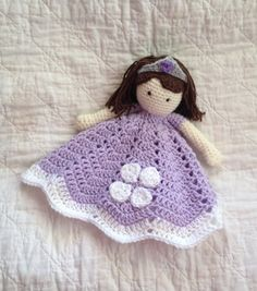 Your little princess will love this Sophia inspired doll lovey! It is made of soft acrylic yarn. The skirt measures approximately 16 at its