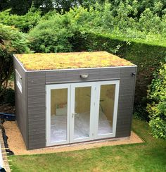 Contemporary garden office or studio with green sedum roof, choose any size or style from our Linea range.