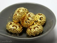Large Gold Filligree Rondelle Beads 13x23mm 6 Metal by LaserBeads, $1.90