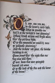 American national anthem first page calligraphy: by Barbara Calzolari illumination:  from Tiziana gironi