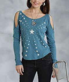 Another great find on #zulily! Teal & White Star Cutout Top - Women & Plus by Roper #zulilyfinds