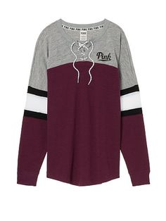 Lace-Up Varsity Crew: Black Orchid size small