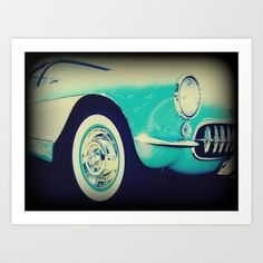 Items similar to 1957 Vintage Restored turquoise and White Corvette Photography Print on Etsy Whiskers On Kittens, Bee Sting, Blue Satin, Winter White, Porsche Logo, Dream Cars, Retro Vintage, Pony