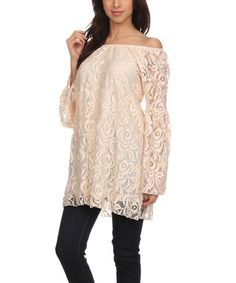 Another great find on #zulily! White Lace Bell-Sleeve Tunic - Plus Too #zulilyfinds