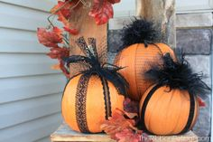 DIY Pretty Pumpkin Fall Decor Front Porch or table..Possibly use different color lace and feathers for a different look Fancy and Frilly Pumpkins - The Ribbon Retreat Blog