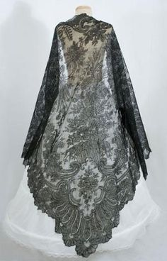 Black Chantilly Lace Shawl 1860's by AislingH