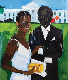 "Henry Taylor ""Cicely and Miles Visit the Obamas The painting shows Taylors spatial tonal genius. Courtesy the artist and Blum & Poe. Famous Black Artists, Famous Black Painters, Zadie Smith, The New Yorker, Contemporary Paintings, American Artists, Art World, Art Drawings, Nature"