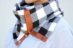 Leather   Flannel Snap Scarf Tutorial