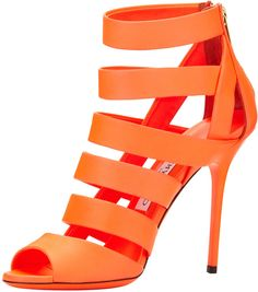 Jimmy Choo Dame Caged Leather Bootie, Neon Flame on shopstyle.com