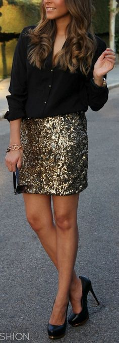 Sparkly skirt, black flats, black shoes, black shirt, black top