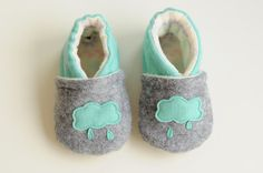 $9.00 soft baby shoes gray blue shoes for baby eco felt by babyshoes14