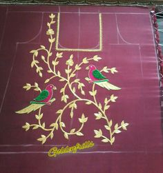 """Parrots n creeper style 19""""yoke for a long chudidar...to be paired wid pallazzo pant .....customised@Goldenfrills for any enquiry pls contact thru watsapp no.09515951399"""