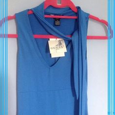 "❄️Guess Blue Dress❄️ Brand new tags attached. Guess blue dress. Perfect for a wedding, dinner or anything formal. Perfect for any occasion. Slim fit. Length is 37"". Very comfortable. Beautiful gift or Just for u Guess Dresses"
