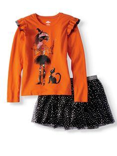 Halloween Ruffle Long Sleeve T-Shirt & Foil Mesh Skirt, 2-Piece Outfit Set (Little Girls & Big Girls) - Walmart.com Halloween Outfits, Halloween Clothes, Mesh Skirt, 2 Piece Outfits, Walmart Shopping, Outfit Sets, Ruffles, Take That, Graphic Sweatshirt