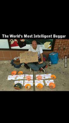 Enterprising homeless man!