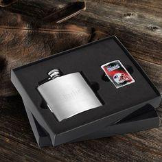 NFL Lighter and Brushed Flask Gift Set - Patriots