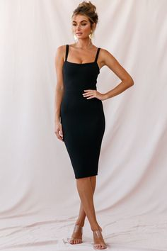 Shop the Georgia Square Neckline Midi Dress Black only at Selfie Leslie! Elegant Dresses, Sexy Dresses, Dress Outfits, Casual Dresses, Summer Dresses, Formal Dresses, Wedding Dresses, Party Dresses, Long Dresses
